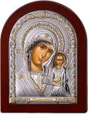 Серебряная икона Богоматерь Казанская (Valenti&Co, Италия, прозрачный лак, повышенное качество!)
