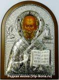 Купить дорогую икону Николая Угодника в серебряном окладе
