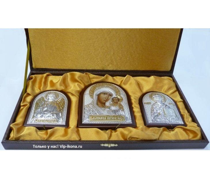 Небольшой подарочный набор из трех икон (триптих, «Галерея благолепия», Россия) в VIP-упаковке в коричневом дереве
