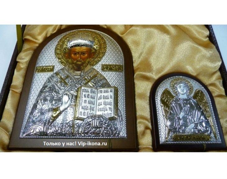 Подарочный набор Николая Чудотворца и Ангела Хранителя в VIP-упаковке в коричневом дереве, Россия