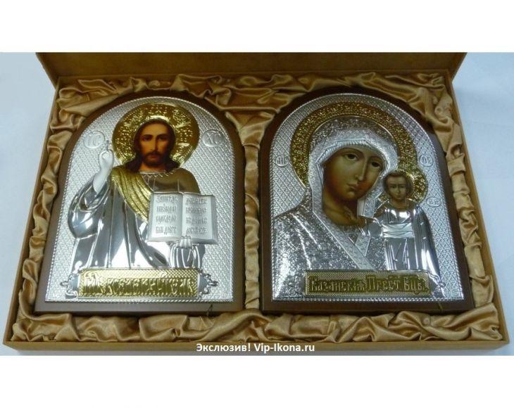 Подарочный набор (венчальная пара) Христа и Божьей Матери (19*25см., красное дерево, Россия) в VIP-упаковке